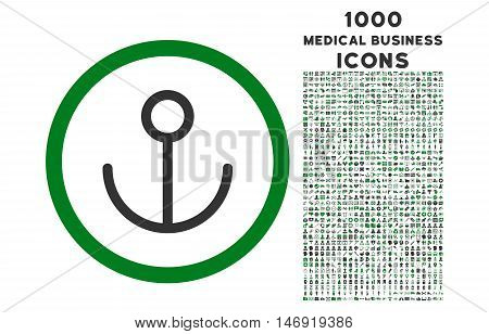 Anchor rounded vector bicolor icon with 1000 medical business icons. Set style is flat pictograms, green and gray colors, white background.