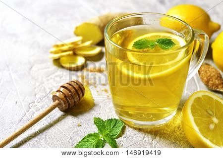 Warming Ginger Tea With Lemon And Mint.top View.