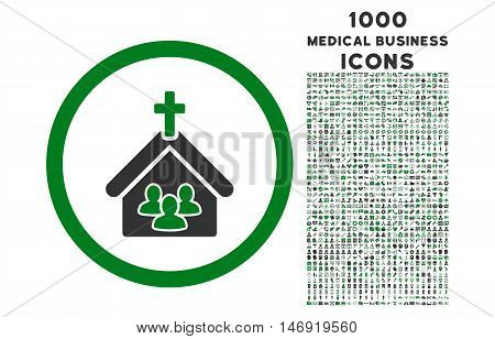 Church rounded vector bicolor icon with 1000 medical business icons. Set style is flat pictograms, green and gray colors, white background.