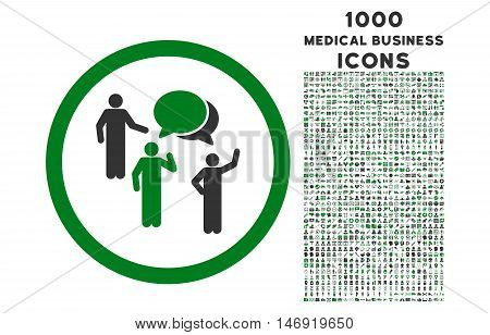 Forum Persons rounded vector bicolor icon with 1000 medical business icons. Set style is flat pictograms, green and gray colors, white background.