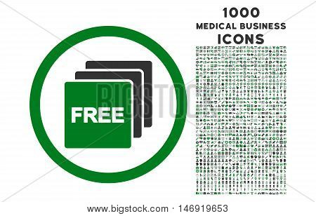 Free rounded vector bicolor icon with 1000 medical business icons. Set style is flat pictograms, green and gray colors, white background.