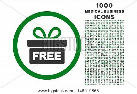 Gift rounded vector bicolor icon with 1000 medical business icons. Set style is flat pictograms, green and gray colors, white background.