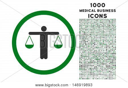 Lawyer rounded vector bicolor icon with 1000 medical business icons. Set style is flat pictograms, green and gray colors, white background.