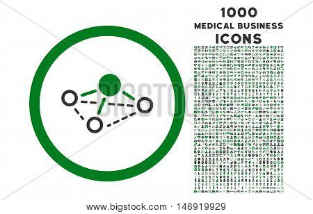 Molecule rounded vector bicolor icon with 1000 medical business icons. Set style is flat pictograms, green and gray colors, white background.