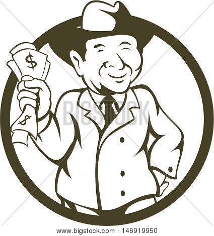 Illustration of a businessman wearing fedora hat clutching bank notes in one hand and the the other hand on hips viewed from the front set inside circle done in cartoon style.