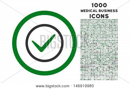 Ok rounded vector bicolor icon with 1000 medical business icons. Set style is flat pictograms, green and gray colors, white background.