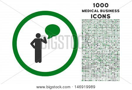 Person Idea rounded vector bicolor icon with 1000 medical business icons. Set style is flat pictograms, green and gray colors, white background.