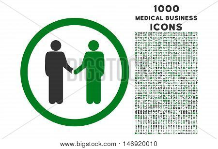 Persons Agreement rounded vector bicolor icon with 1000 medical business icons. Set style is flat pictograms, green and gray colors, white background.