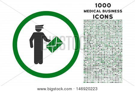 Postman rounded vector bicolor icon with 1000 medical business icons. Set style is flat pictograms, green and gray colors, white background.