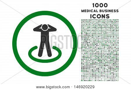 Prisoner rounded vector bicolor icon with 1000 medical business icons. Set style is flat pictograms, green and gray colors, white background.