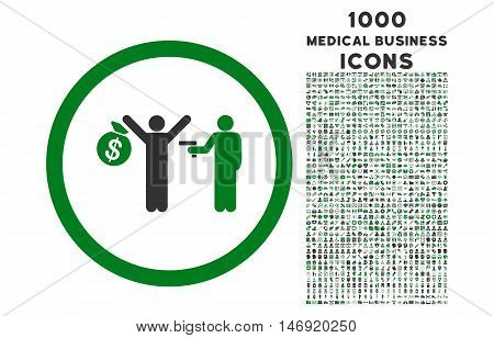 Robbery rounded vector bicolor icon with 1000 medical business icons. Set style is flat pictograms, green and gray colors, white background.