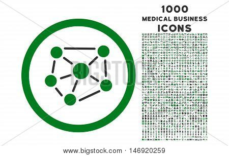 Social Graph rounded vector bicolor icon with 1000 medical business icons. Set style is flat pictograms, green and gray colors, white background.