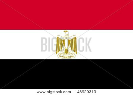 Flag of Egypt in correct size proportions and colors. Accurate official standard dimensions. Egyptian national flag. Arab Republic of Egypt patriotic symbol banner background. Vector illustration