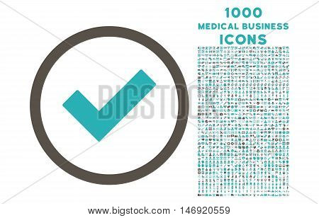 Accept rounded vector bicolor icon with 1000 medical business icons. Set style is flat pictograms, grey and cyan colors, white background.