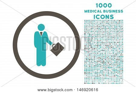 Businessman rounded vector bicolor icon with 1000 medical business icons. Set style is flat pictograms, grey and cyan colors, white background.