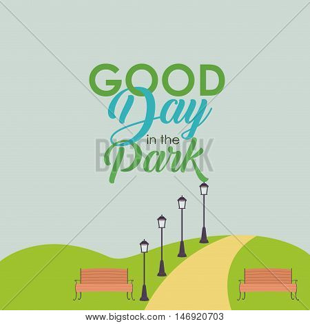 Bench with lamps and landscape icon. Good day in the park theme. Colorful design. Vector illustration