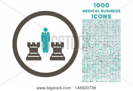 Chess Strategy rounded vector bicolor icon with 1000 medical business icons. Set style is flat pictograms, grey and cyan colors, white background.