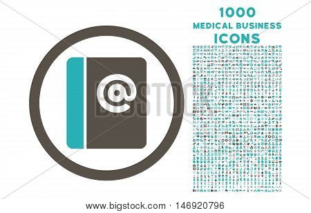 Emails rounded vector bicolor icon with 1000 medical business icons. Set style is flat pictograms, grey and cyan colors, white background.