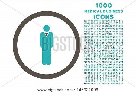 Manager rounded vector bicolor icon with 1000 medical business icons. Set style is flat pictograms, grey and cyan colors, white background.