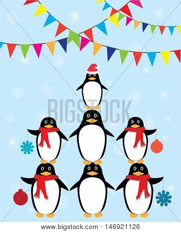 vector illustration of fun penguin background with bunting