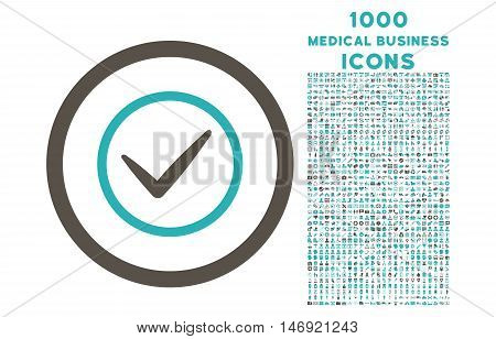 Ok rounded vector bicolor icon with 1000 medical business icons. Set style is flat pictograms, grey and cyan colors, white background.
