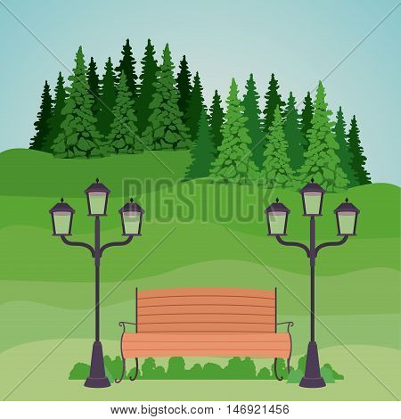 Bench with lamps pine trees and landscape icon. Good day in the park theme. Colorful design. Vector illustration