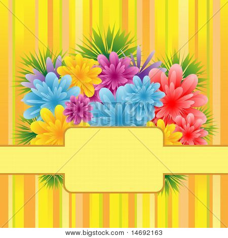 Flowers On Striped Background