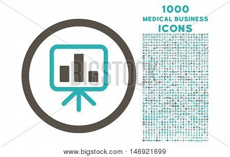 Slideshow Screen rounded vector bicolor icon with 1000 medical business icons. Set style is flat pictograms, grey and cyan colors, white background.