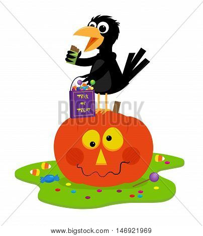 Cute crow is standing on a Jack o lantern holding a bag with candies and eating a chocolate bar. Eps10