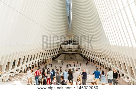 New York NY USA - September 3 2016 Interior view of the oculus from the West entrance in downtown New York