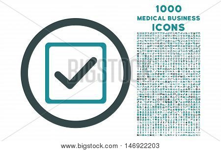 Checkbox rounded vector bicolor icon with 1000 medical business icons. Set style is flat pictograms, soft blue colors, white background.