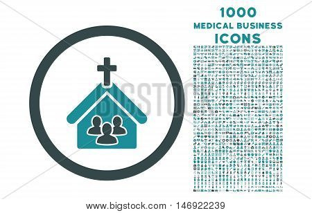 Church rounded vector bicolor icon with 1000 medical business icons. Set style is flat pictograms, soft blue colors, white background.