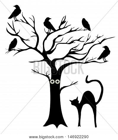 vector illustration of a tree with crows and a cat