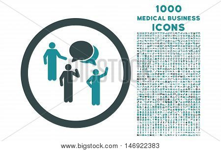 Forum Persons rounded vector bicolor icon with 1000 medical business icons. Set style is flat pictograms, soft blue colors, white background.