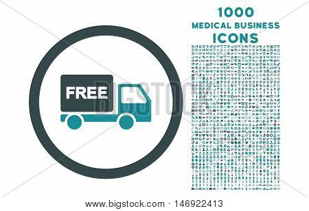Free Delivery rounded vector bicolor icon with 1000 medical business icons. Set style is flat pictograms, soft blue colors, white background.