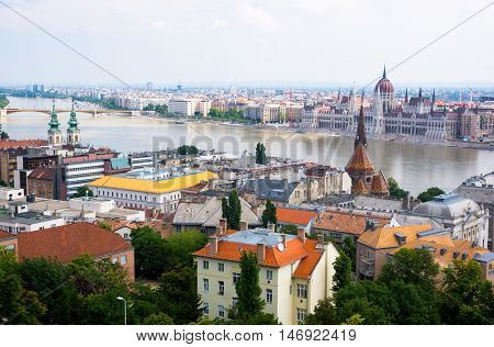 Colourful buildings of historic Budapest on the River Danube