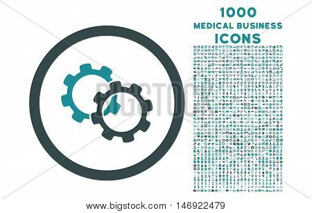 Gears rounded vector bicolor icon with 1000 medical business icons. Set style is flat pictograms, soft blue colors, white background.