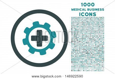 Medical Settings rounded vector bicolor icon with 1000 medical business icons. Set style is flat pictograms, soft blue colors, white background.