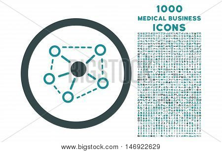Molecule Links rounded vector bicolor icon with 1000 medical business icons. Set style is flat pictograms, soft blue colors, white background.