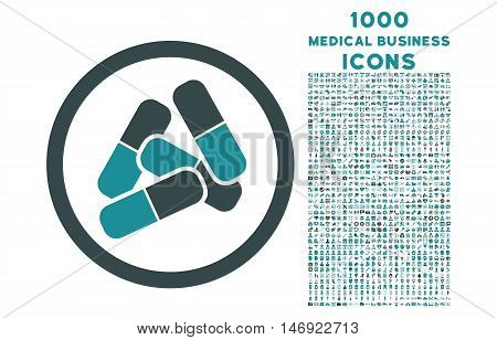 Pills rounded vector bicolor icon with 1000 medical business icons. Set style is flat pictograms, soft blue colors, white background.