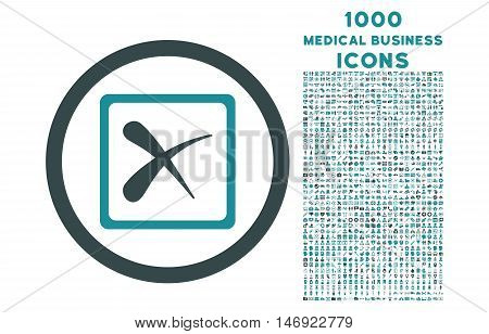 Reject rounded vector bicolor icon with 1000 medical business icons. Set style is flat pictograms, soft blue colors, white background.