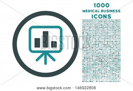 Slideshow Screen rounded vector bicolor icon with 1000 medical business icons. Set style is flat pictograms, soft blue colors, white background.