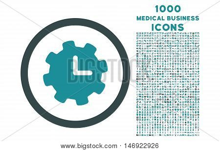 Time Settings rounded vector bicolor icon with 1000 medical business icons. Set style is flat pictograms, soft blue colors, white background.