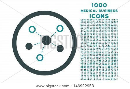 Virtual Links rounded vector bicolor icon with 1000 medical business icons. Set style is flat pictograms, soft blue colors, white background.