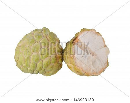 Custards  isolated white background. Sweet fruit of Thailand