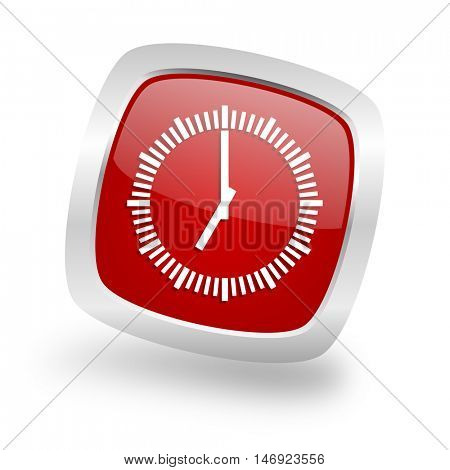 time square glossy red chrome silver metallic web icon