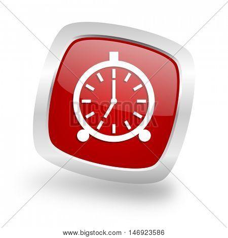 alarm square glossy red chrome silver metallic web icon