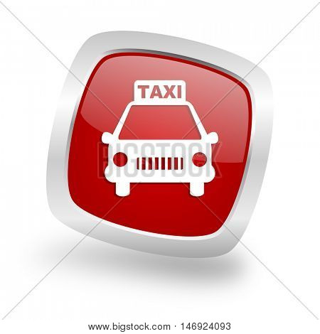 taxi square glossy red chrome silver metallic web icon