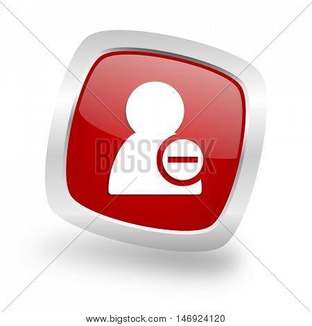 remove contact square glossy red chrome silver metallic web icon