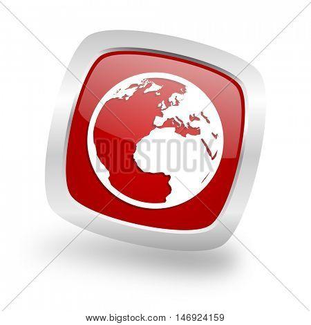 earth square glossy red chrome silver metallic web icon